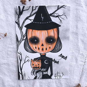 The Witch and the Cat Original Painting by Lupe Flores