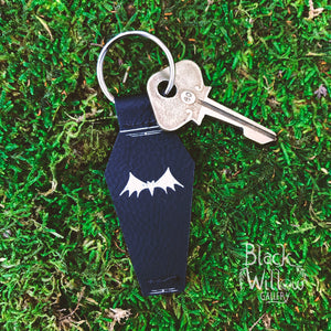 Coffin Bat Faux Leather Keychain