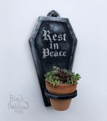 Rest in Peace Mini Coffin Planter
