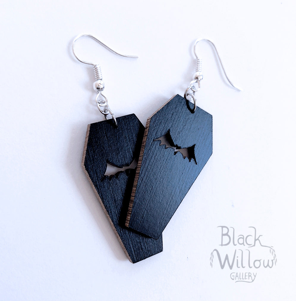 Coffin Bat Wooden Earrings