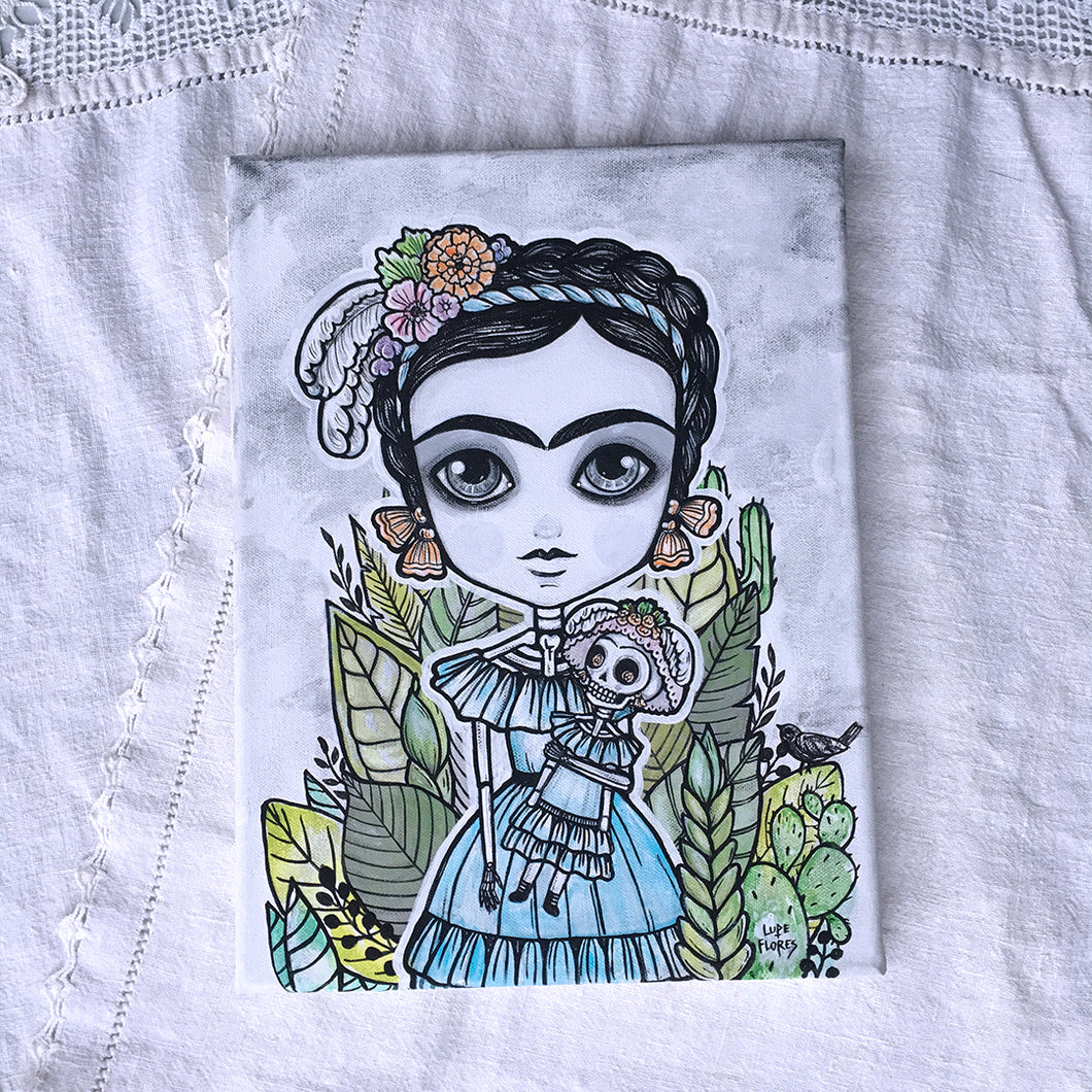 Frida Las Catrinas Original Painting by Lupe Flores