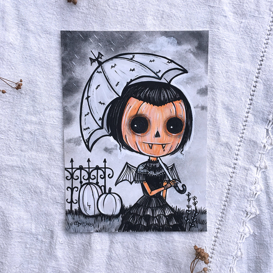 Vampire Pumpkin Girl Original Painting by Lupe Flores