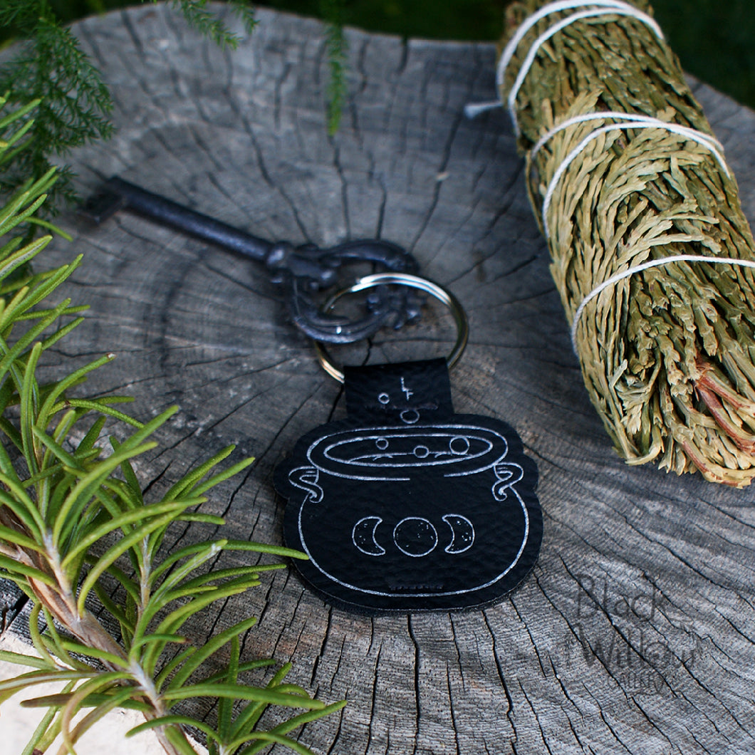 Cauldron Faux Leather Keychain