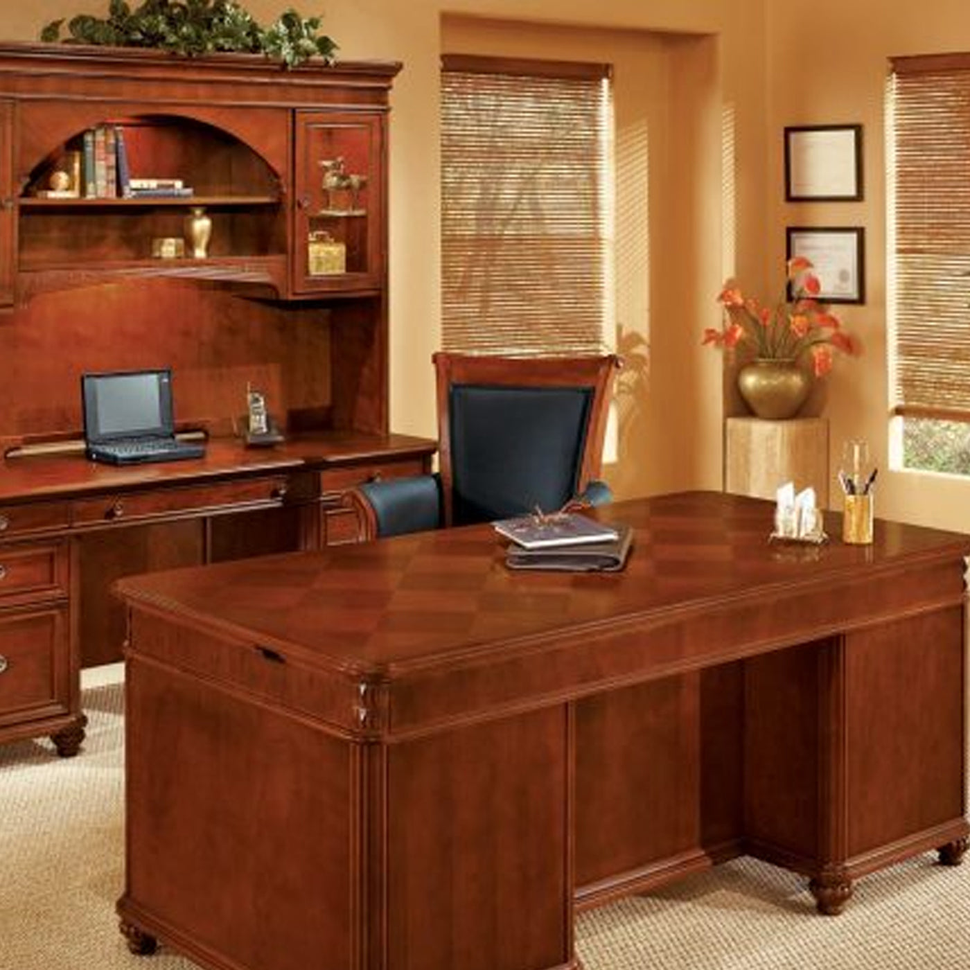 DMI Office Furniture Works Antigua Series | quality wooden office furniture, desk and hutch set, office desk and credenza set