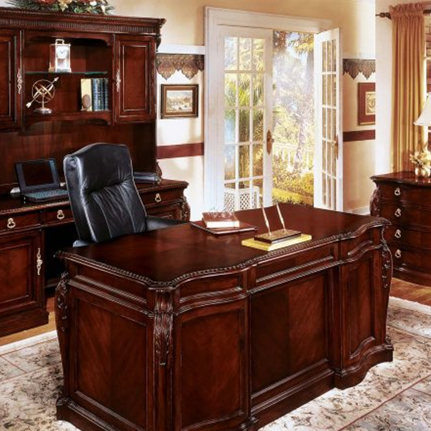 DMI Office Furniture Works Balmoor Series | cherry office furniture, cherry wood executive desk set, executive desk and credenza set