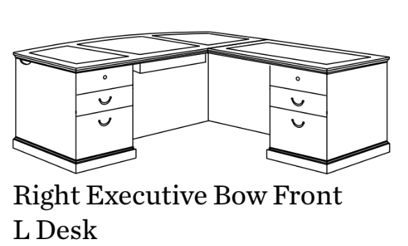 Executive Bow Front L Desk | Del Mar Collection