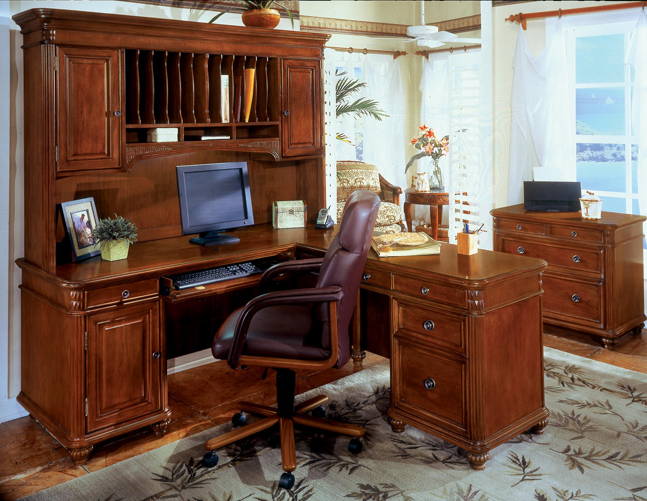 Antigua Suite - L Shape Desk, Hutch, Lateral File | Antigua Collection