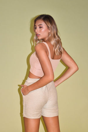 Always Right Nude Square Neck Crop Tank
