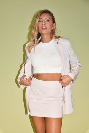 She Means Business Cream Mini Skirt