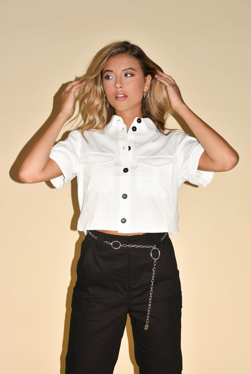 Don't Look Back White Button Up Crop