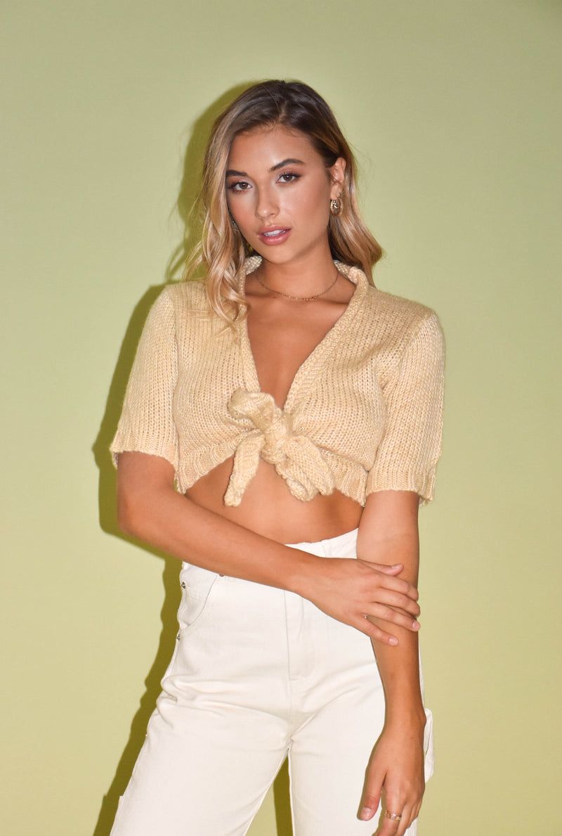 Oat Milk Latte Knit Tie Front Sweater Top