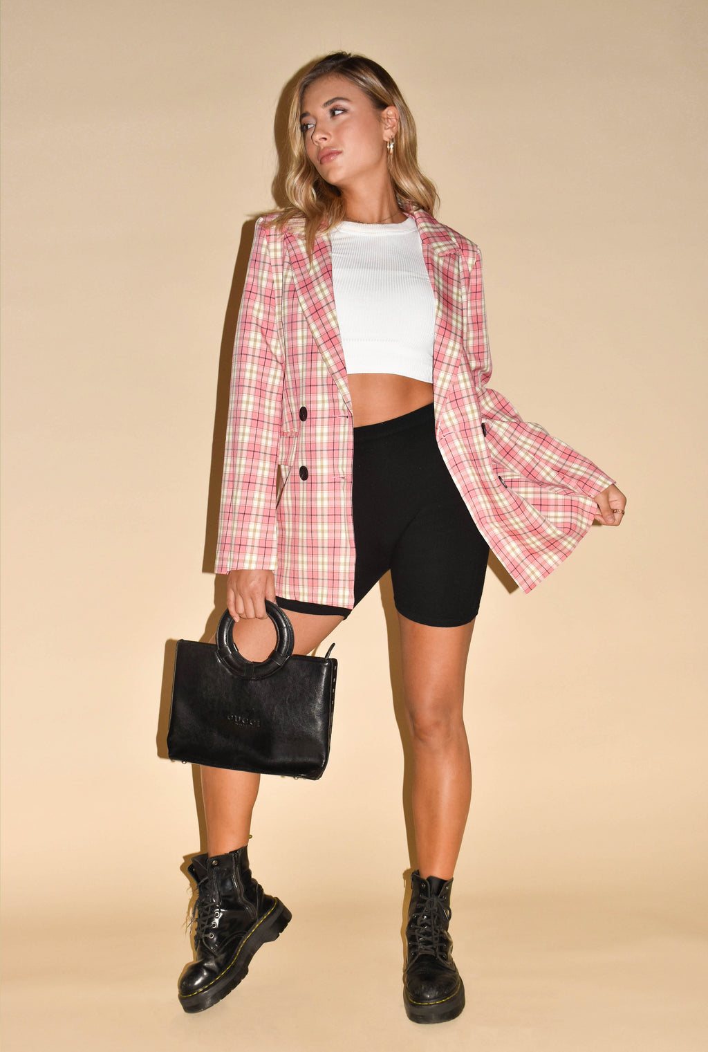 Totally Buggin' Pink Plaid Blazer