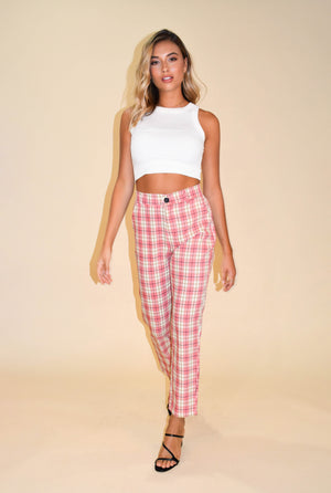 Totally Buggin' Pink Plaid Pant