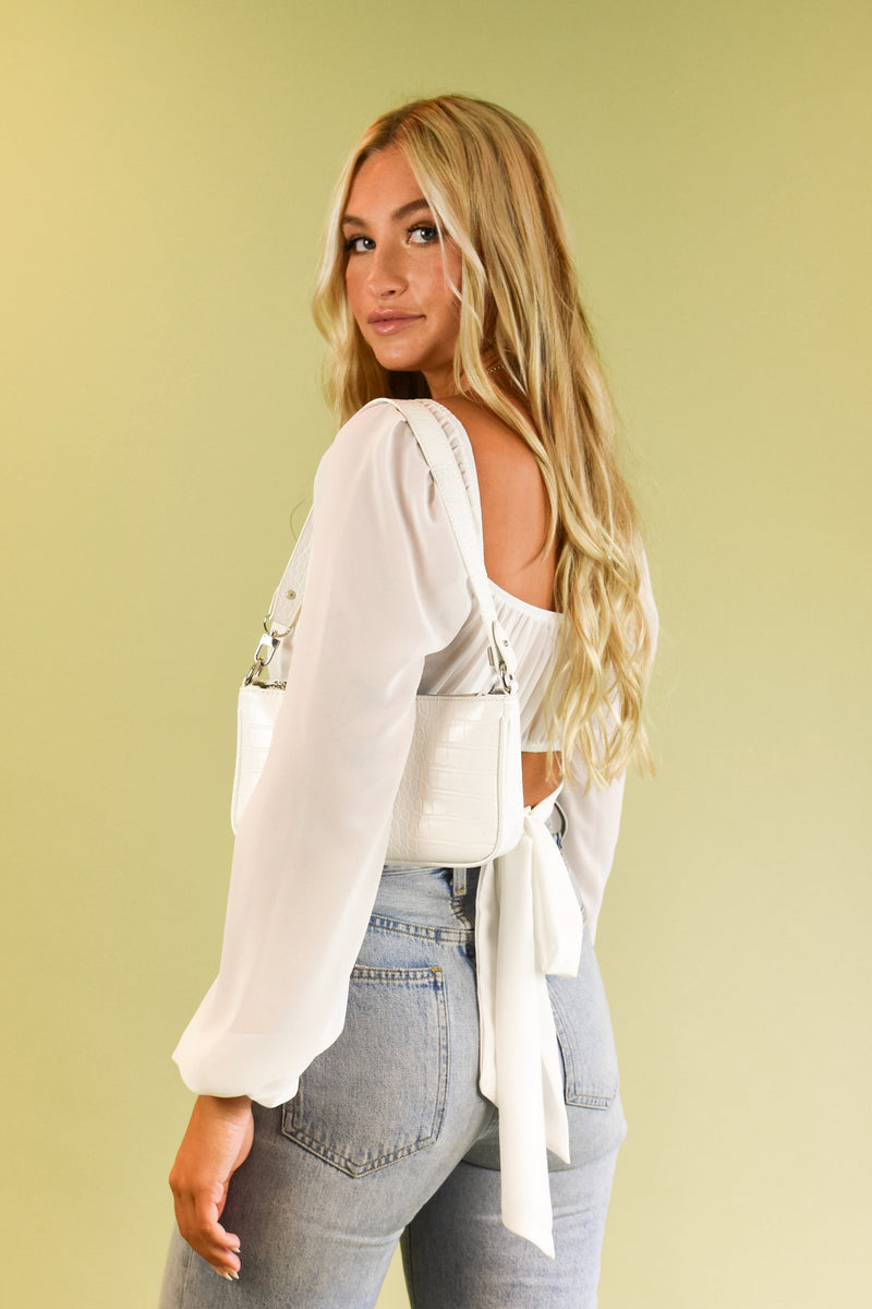 All Weekend Long White Long Sleeve Tie Back Top