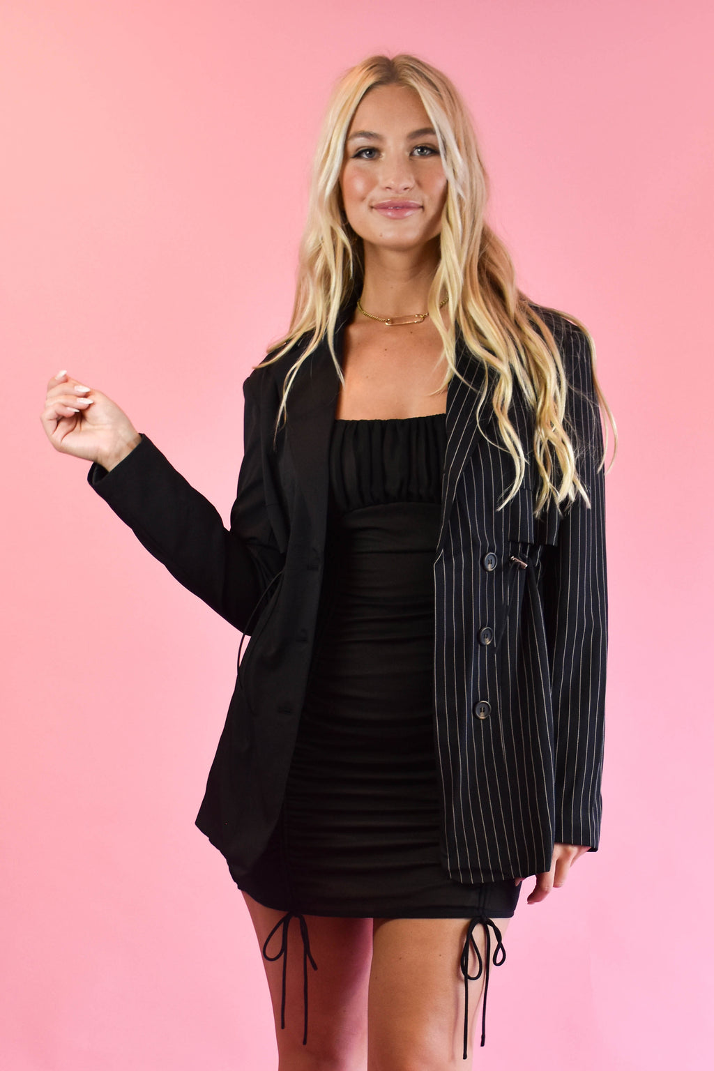 Artistic License Black Pinstripe Blazer