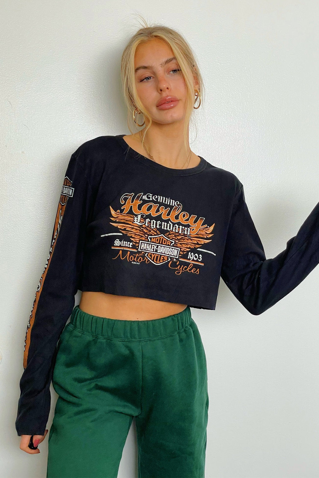 Smoky Mountain Vintage Harley Davidson Long Sleeve Crop Top