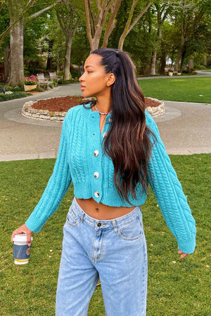 Sun in the Sky Blue Chunky Knit Cardigan