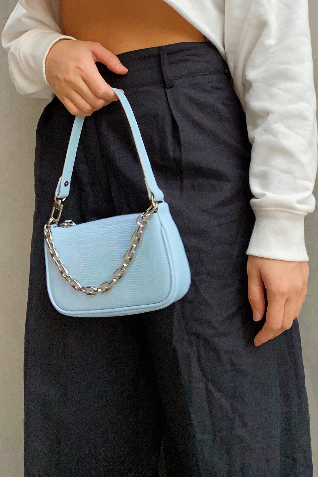 Locking Up Light Blue Snakeskin Mini Shoulder Bag with Chain