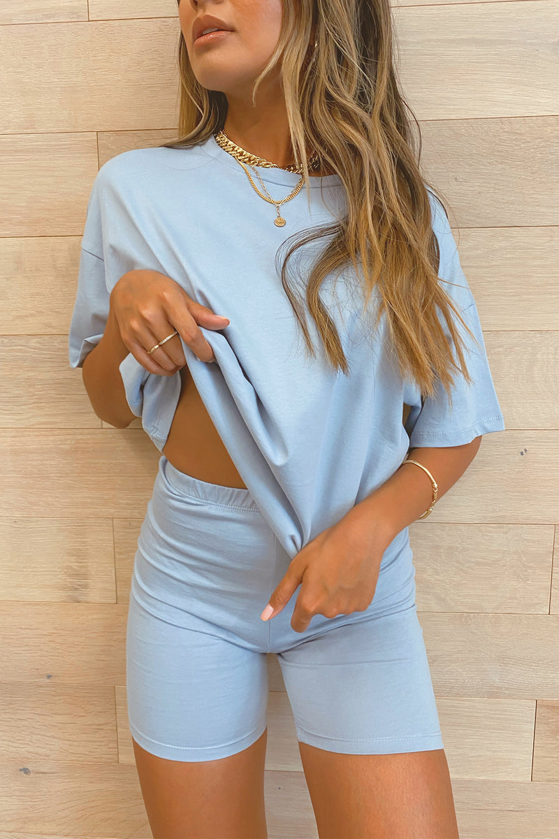 Monochromatic Vibe Light Blue Tee and Biker Short Set