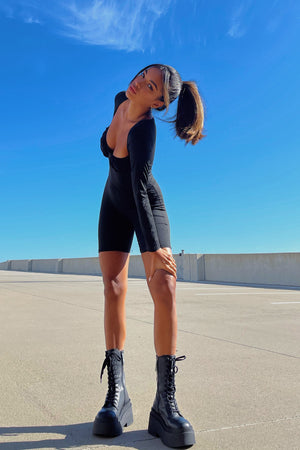 Double Time Black Bustier Detail Long Sleeve Romper