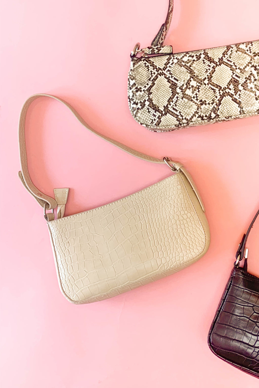 Bring It Back Cream Snakeskin Shoulder Bag