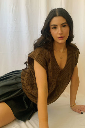 Milk Chocolate Mocha Knit Sweater Vest