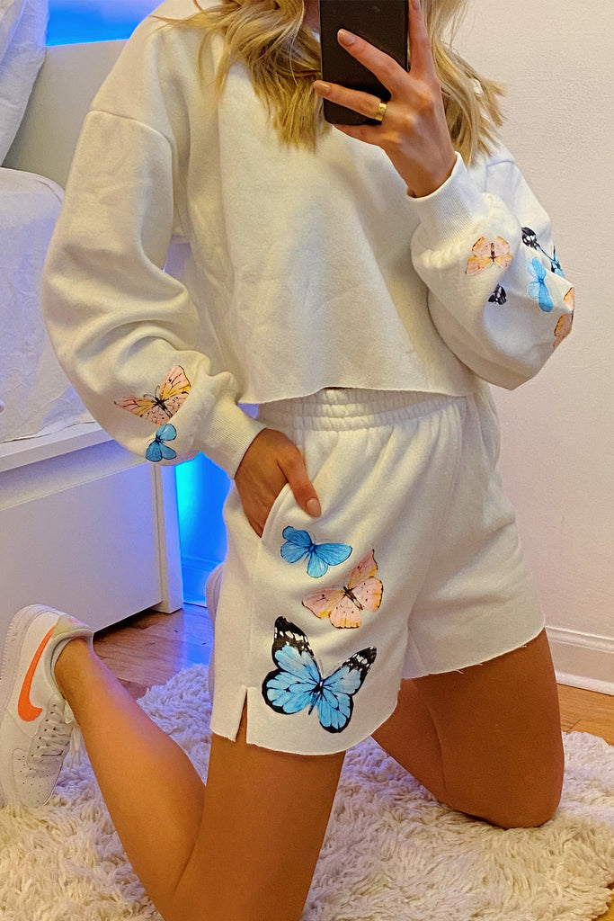 Taking Flight Butterfly Sweat Shorts