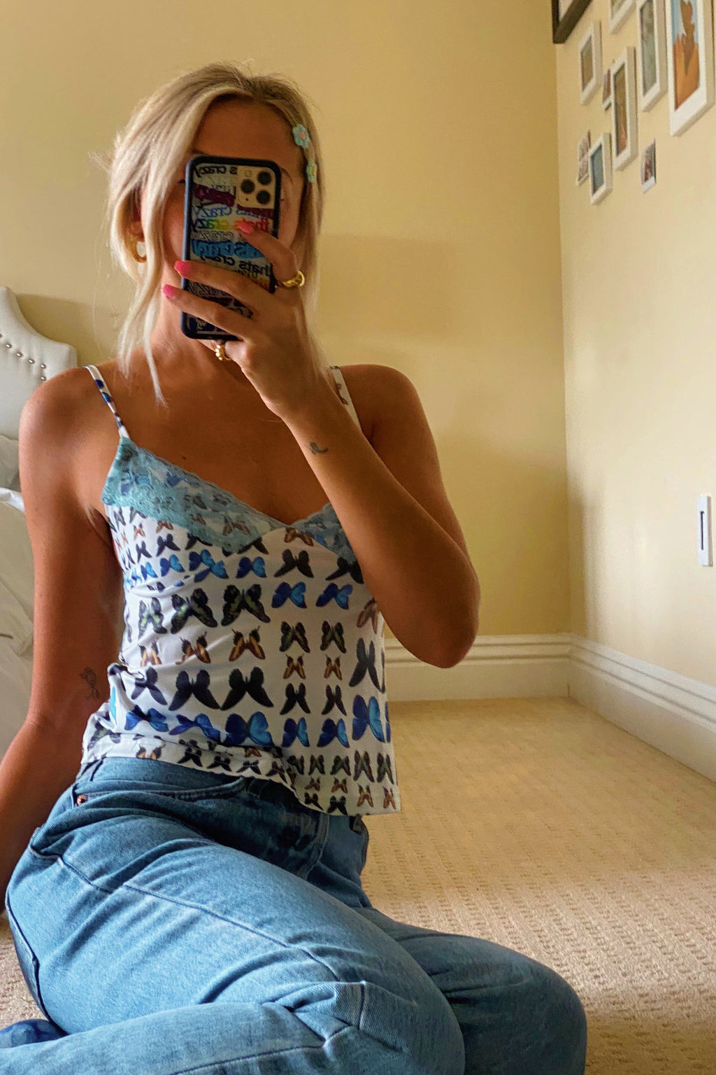 Metamorphosis White and Blue Butterfly Tank