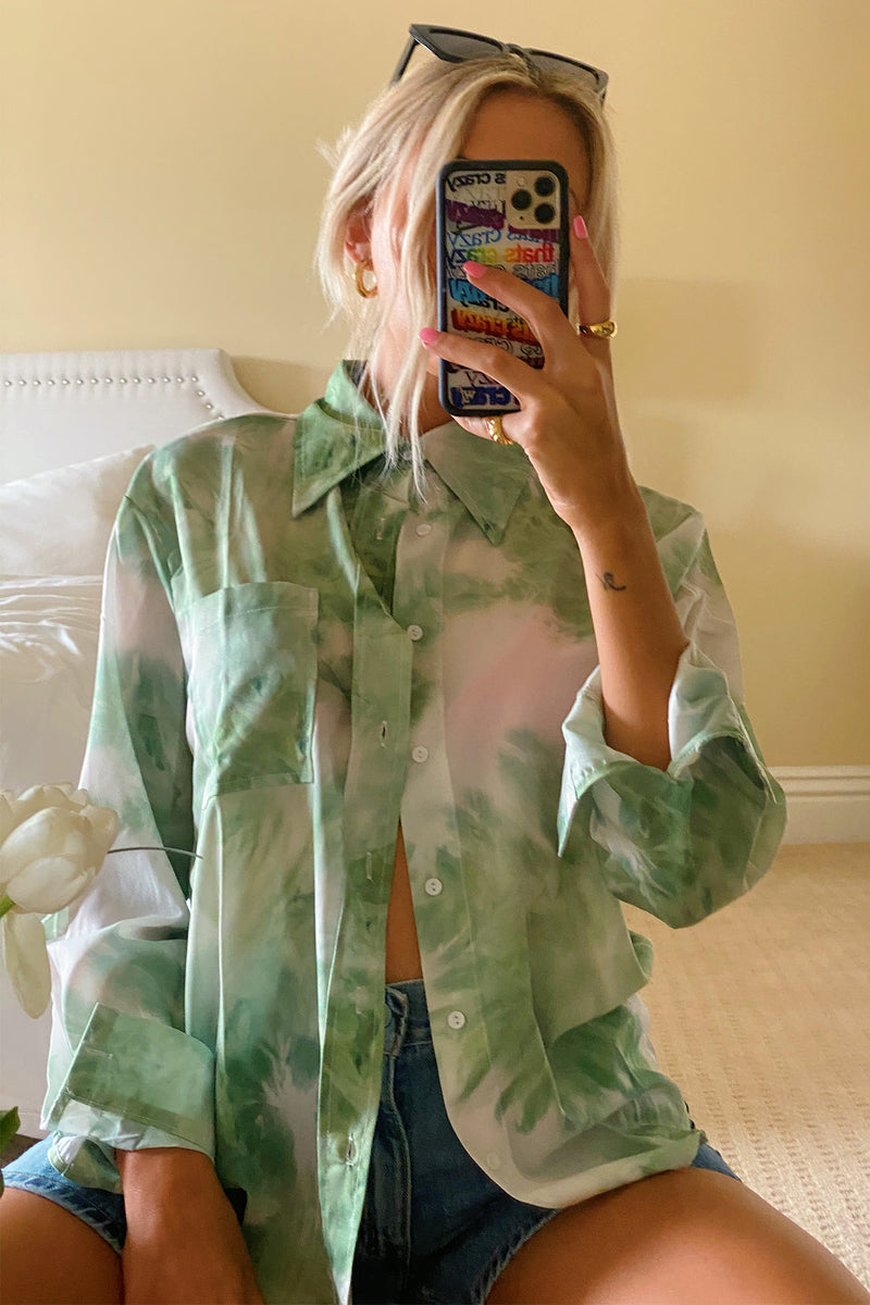 Summertime Magic Green Tie Dye Button Up Top