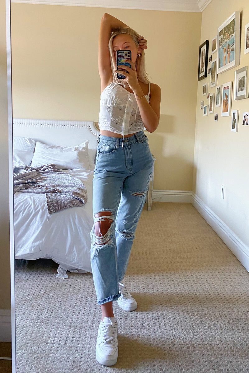 Carried Away Distressed High Waisted Boyfriend Jeans