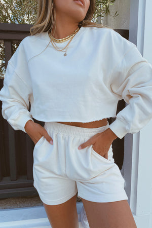 Morning Light Cream Crop Sweater