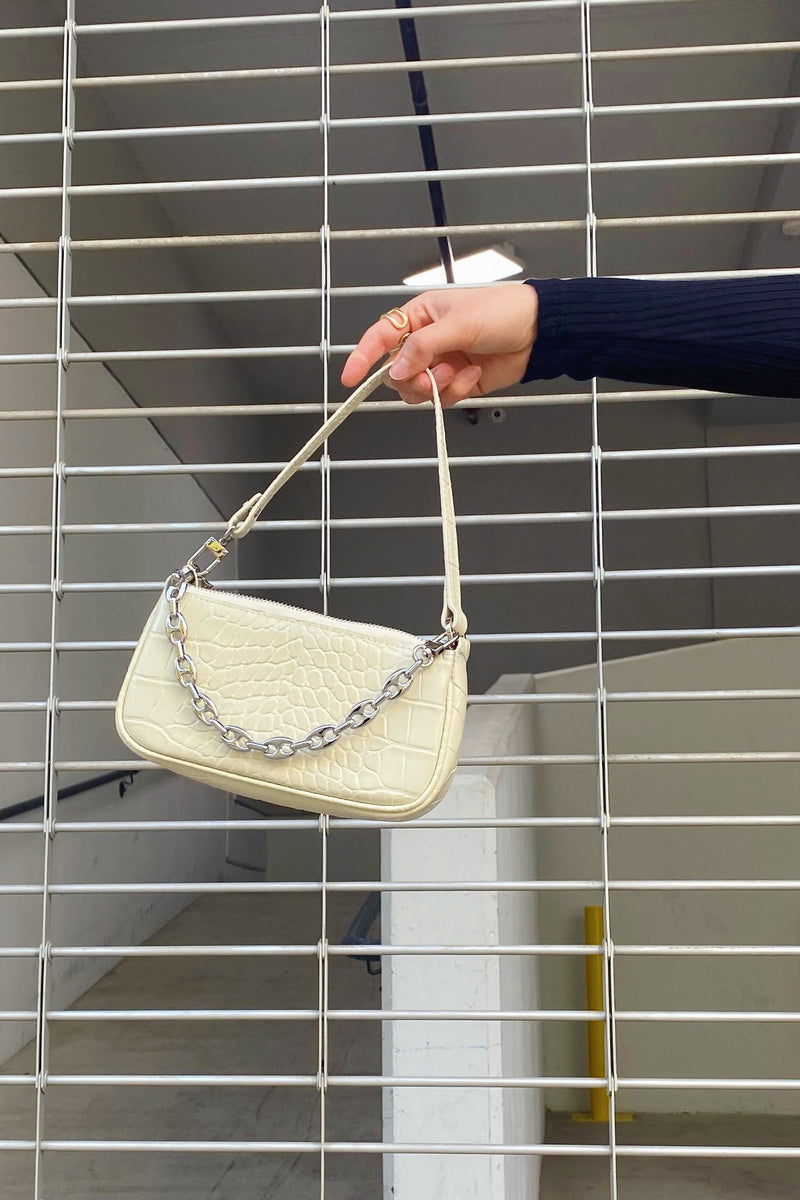 Locking Up Cream Snakeskin Mini Shoulder Bag with Chain