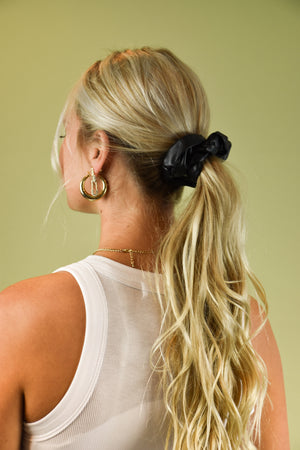 Edge It Up Black Leather Scrunchie