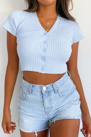 Feel Alive Sky Blue Button Up Short Sleeve Top