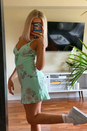 Feels Like Summer Mint Green Floral Mini Slip Dress