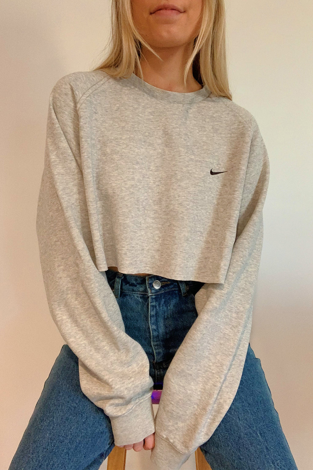 Vintage Nike Heather Grey Cut Off Sweatshirt