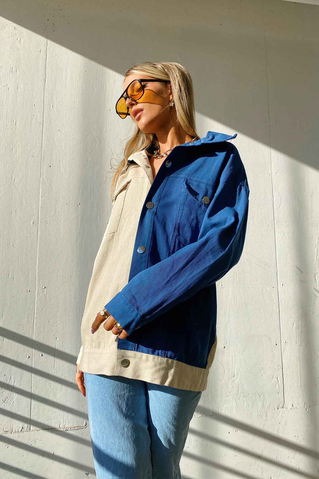 Sneaking Out White and Blue Oversized Denim Jacket