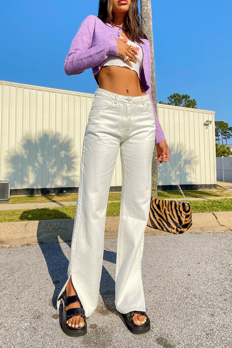 Split Second White High Waisted Jeans