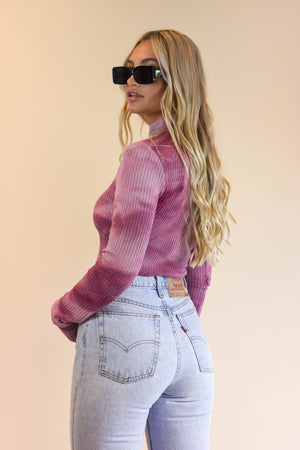 Know It All Raspberry Tie Dye Turtleneck Top