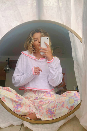 Just Chillin' White with Pink Contrast Stitch Crop Hoodie