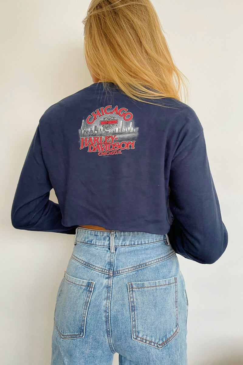 Chicago Vintage Harley Davidson Long Sleeve Crop Top
