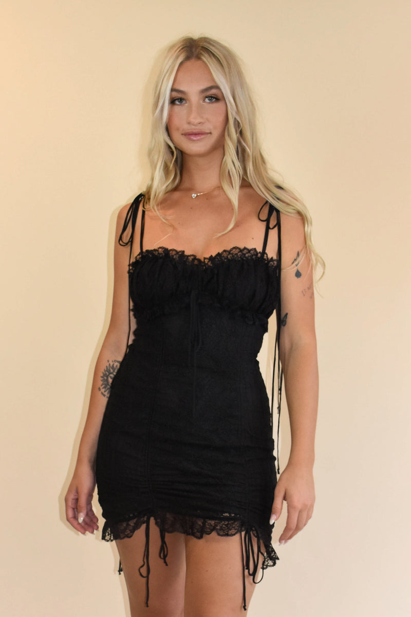 Opposites Attract Black Lace Dress