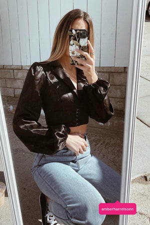 Over You Black Long Sleeve Corset Top