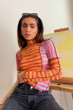 BE BACK SOON: Electric Feel Pink Overlock Mesh Top
