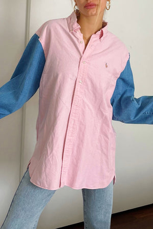 Dylan Pink and Denim Vintage Button Up Shirt