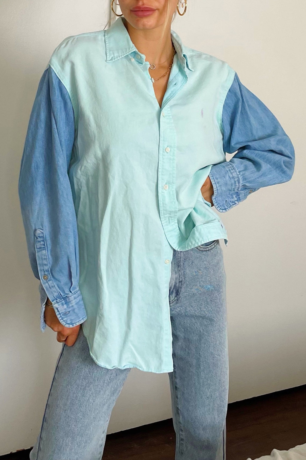 Eli Seafoam and Denim Vintage Button Up Shirt