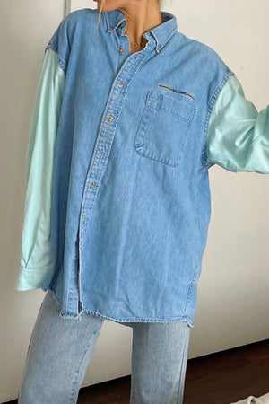 Connor Seafoam and Denim Vintage Button Up Shirt