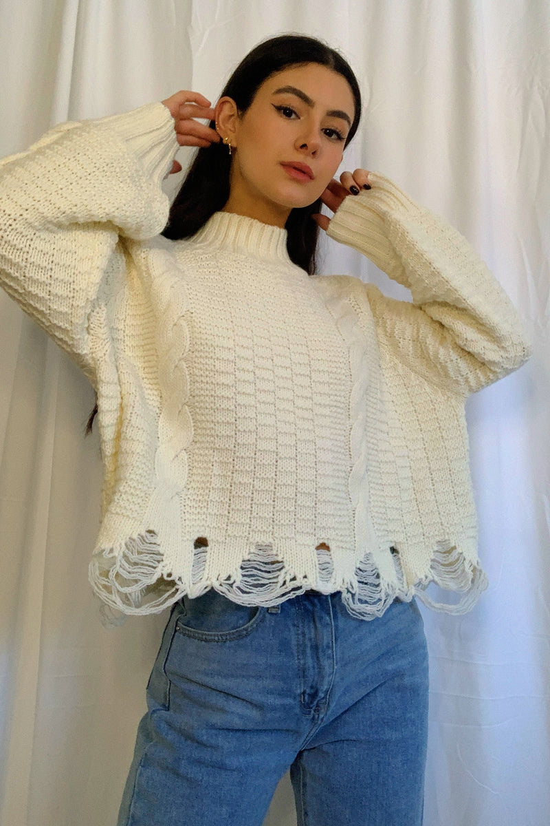 With the Band Cream Distressed Knit Sweater