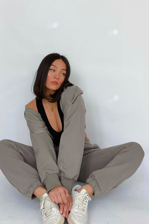 Coffee Run Taupe Crop Sweatshirt and Sweatpant Set