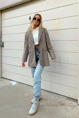 Check Please Brown Plaid Oversized Boyfriend Blazer